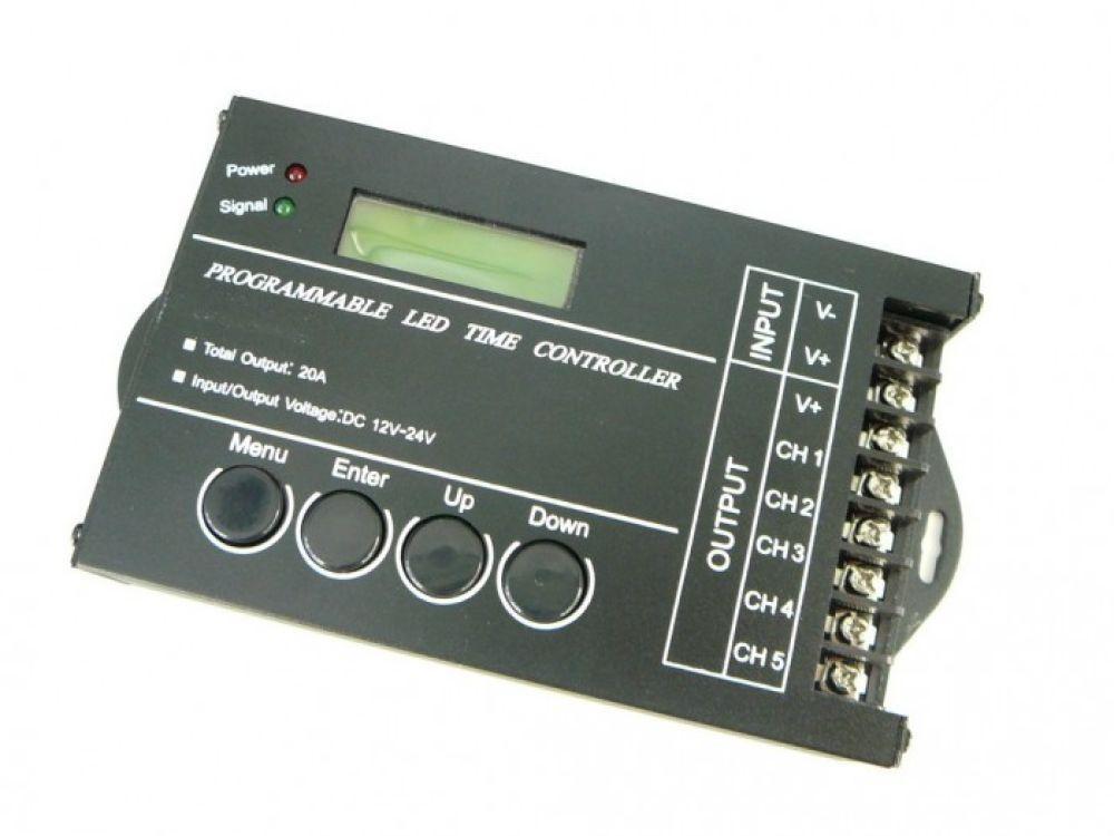 LED21 Programovatelný ovladač, stmívač s časovačem USB 5CH 20A 240W pro LED, 5 okruhú